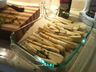 parsnips before baking